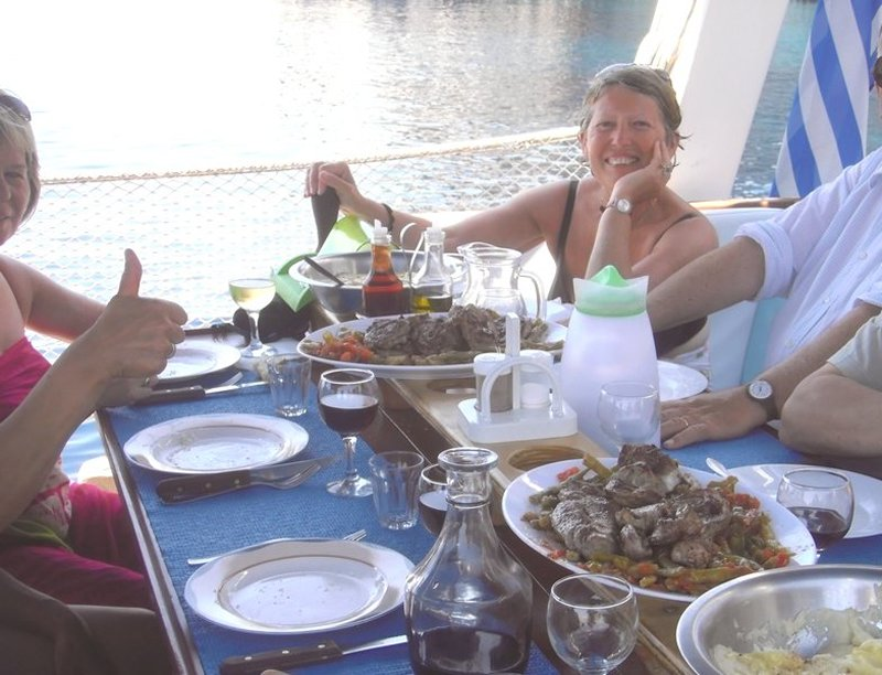 Eating on a Greek yacht charter
