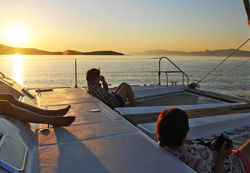 Greek sunset viewed on-board a catamaran