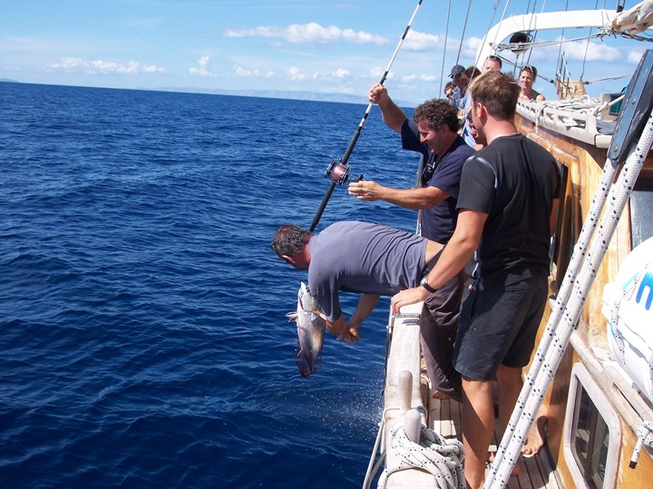 Fishing on a Greek charter yacht