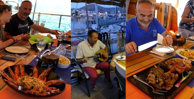 Lunch on board a Greek yacht charter
