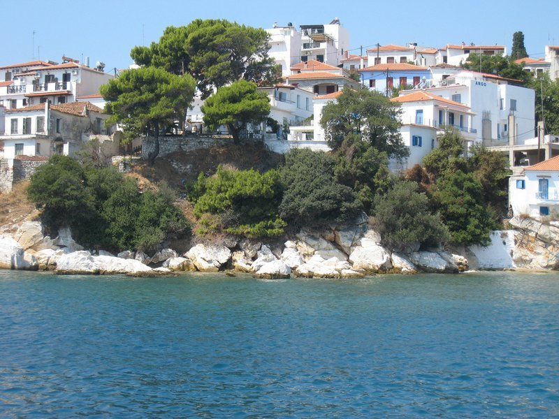 Greek houses overlooking the sea