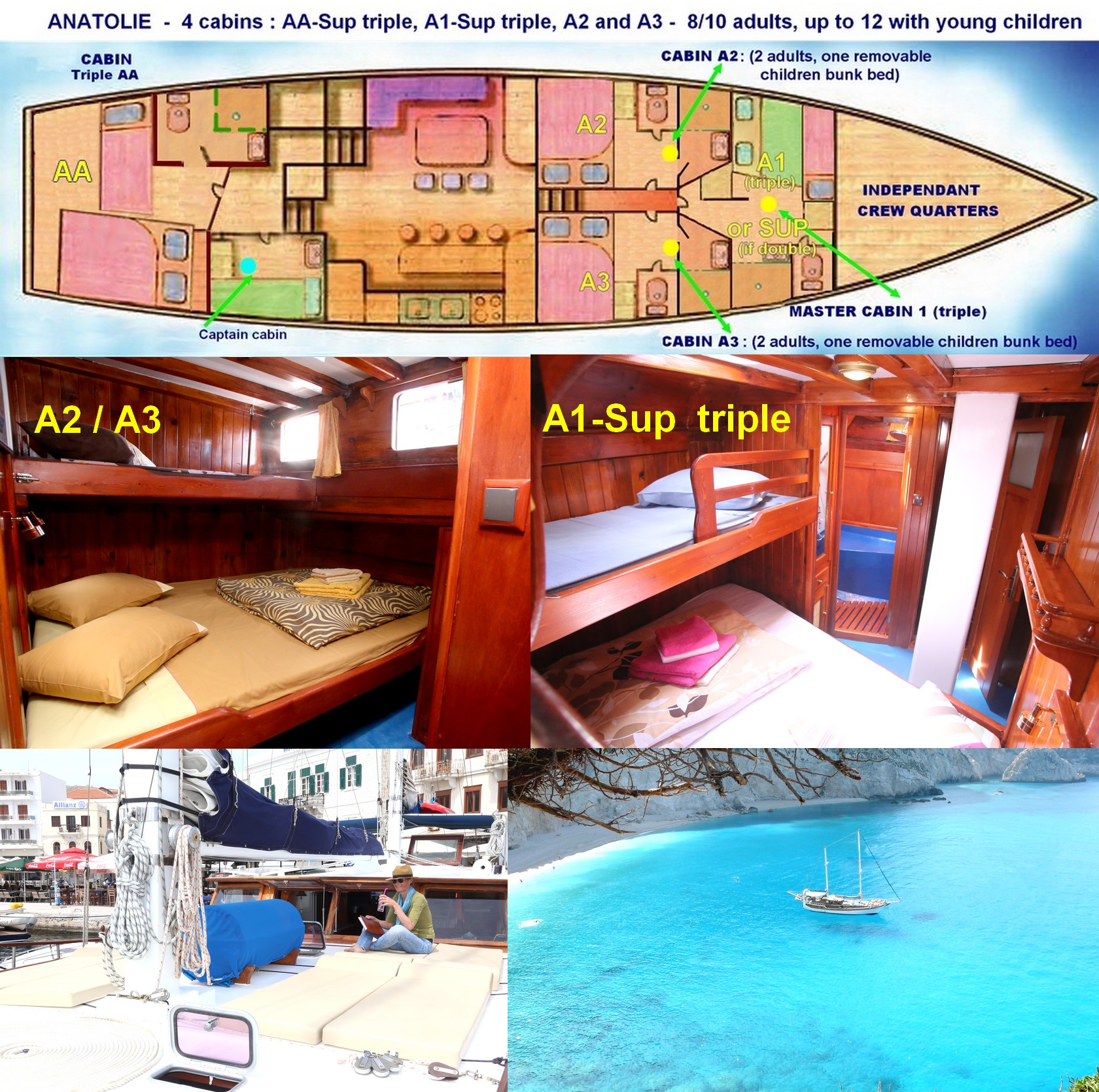 shared yacht cabins Ionian